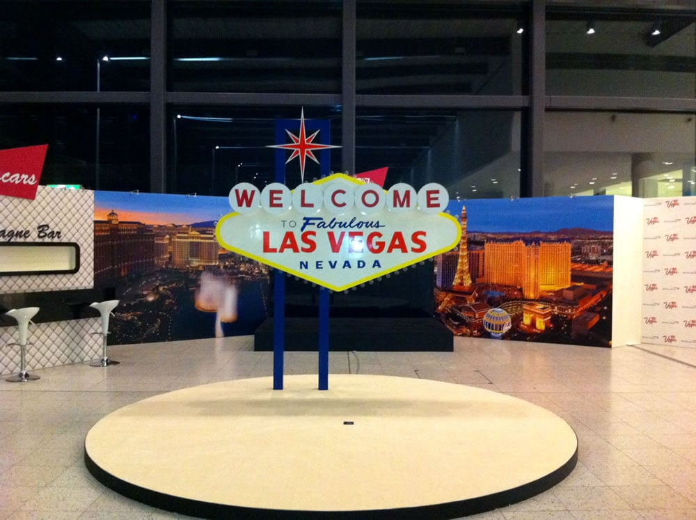 BA Gatwick Airport pop up dsiplay for Las Vegas flight launch