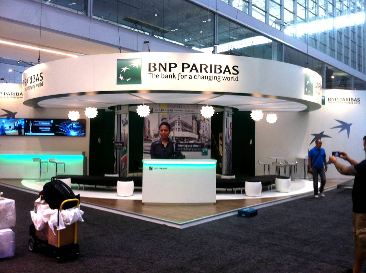 Excellent Exhibition Stand Design : Bnp parabis exhibition stand for sibos in boston us