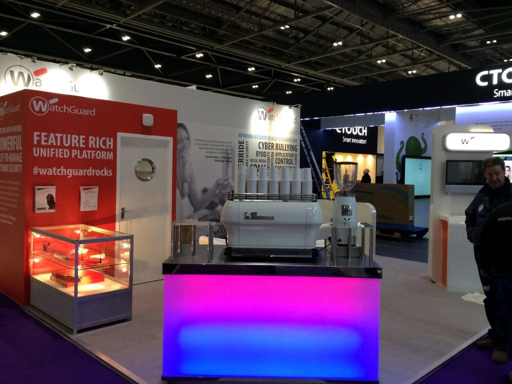 Watchguard exhibition stand for the Bett Show at Excel, London